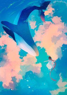 Фото Парящий кит и девочка в облаках, by Jedit