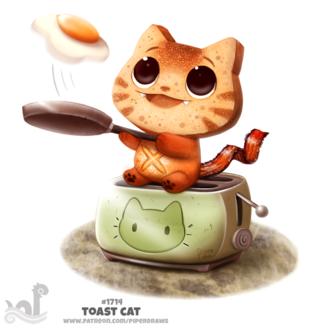 Фото Кот из гренки сидит на тостере жаря на сковородке яичницу, by Cryptid-Creations