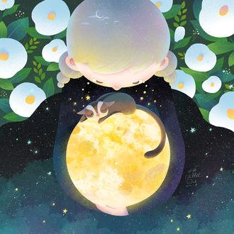 Фото Мальчик держит луну, на которой лежит кошка, by minayuyu