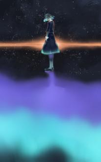 Фото Девушка стоит на льду, в котором отражается северное сияние, на фоне ночного неба, где появляется солнце