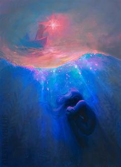 Фото Девушка под водой, а на поверхности воды парень в лодке с фонарем, by DestinyBlue