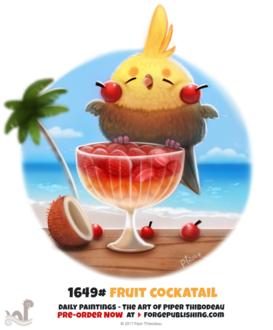 Фото Попугайчик на стакане фруктами, by Cryptid-Creations