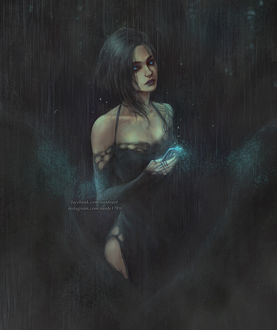 Фото Девушка со смартфоном в руке под дождем ночью, by NanFe