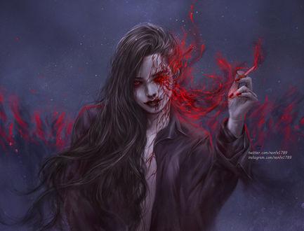 Фото Темноволосая девушка, из глаза которой выходят сгустки крови, by NanFe