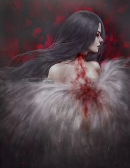 Фото Темноволосая девушка с окровавленной шеей, by NanFe