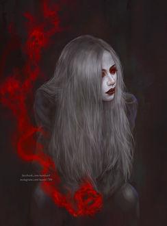 Фото Белокурая девушка с красными глазами, руки которой объяты кровавым дымом, by NanFe