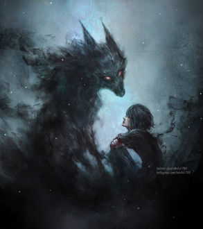 Фото Темноволосый парень сидит перед демоническим псом, by NanFe