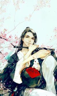Фото Вэй У Сянь с горшком вина и белым кроликом из китайского аниме Mo Dao Zu Shi / Магистр дьявольского культа