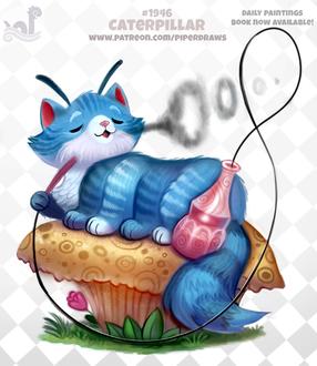Фото Синий кот-гусеница лежит на кексе пуская из дыма кружки, by Cryptid-Creations