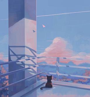 Фото Черная кошка сидит на крыше здания, by MORNCOLOUR