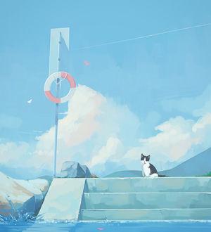 Фото Кошка сидит на ступеньках, ведущих к воде, by MORNCOLOUR