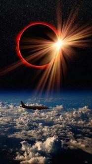 Фото Самолет летит над облаками