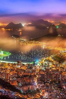 Фото Ночные огни Rio De Janeiro / Рио-де-Жанейро, Brazil / Бразилия