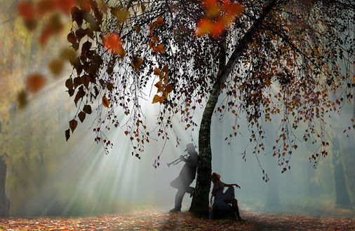 Фото Девушка сидит у осеннего дерева, а парень стоит и играет на трубе, фотограф Игорь Зенин