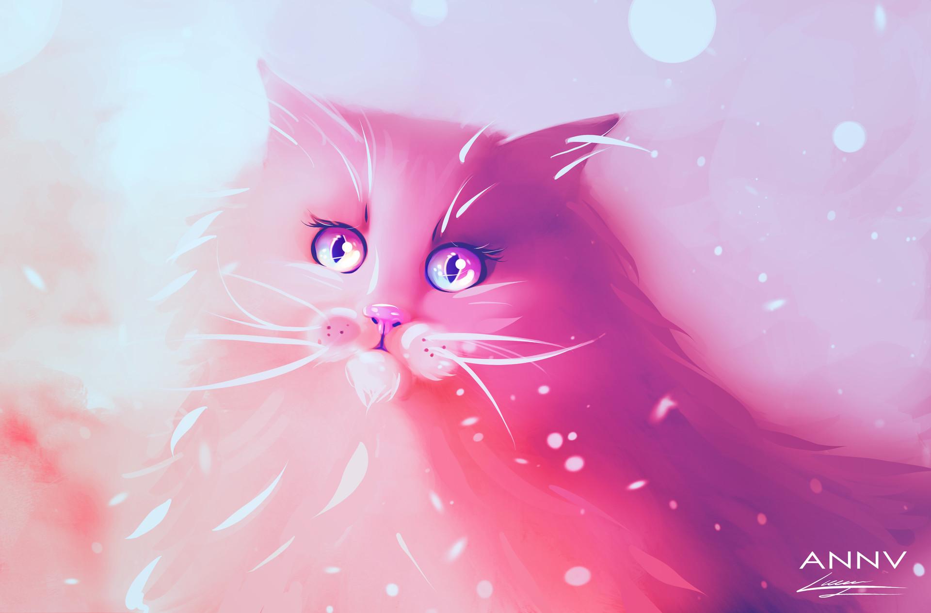 розовая кошка картинка многие