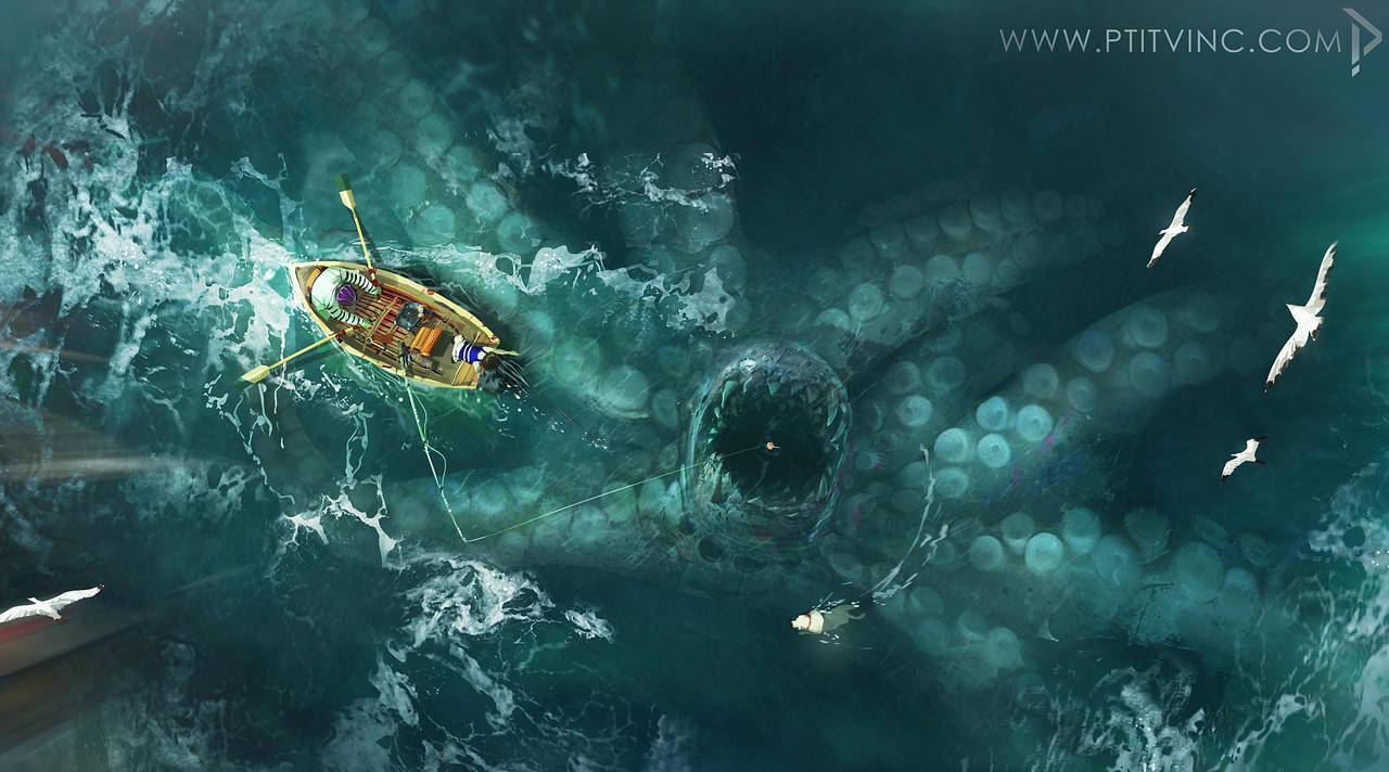 Фото Мужчина и мальчик в лодке над гигантским осьминогом в воде, by ptitvinc