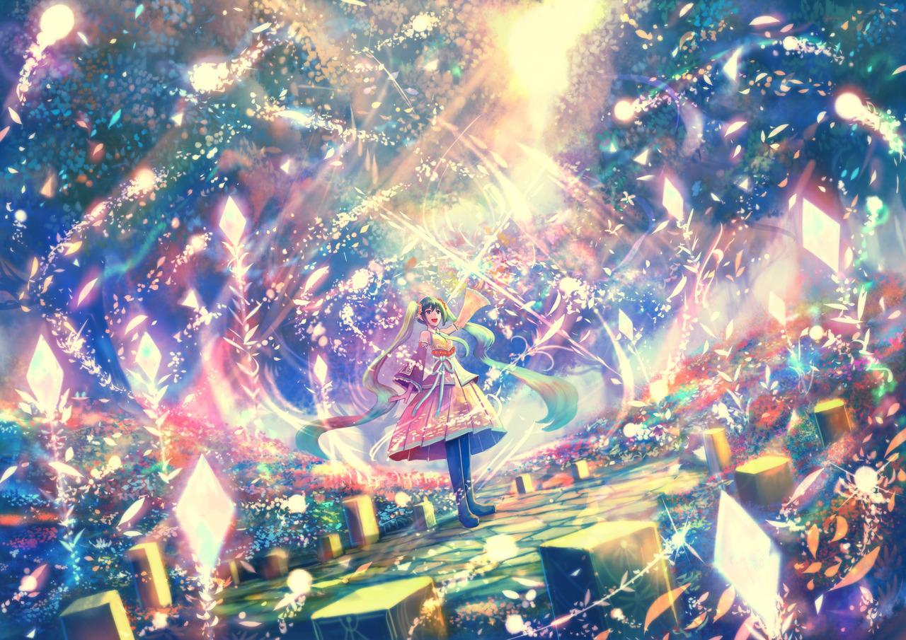 Фото Девушка стоит среди волшебных бликов, art by Sakimori