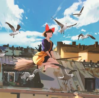 Фото Kiki / Кики и Jiji / Джиджи из аниме Kikis Delivery Service / Служба доставки Кики / Ведьмина служба доставки, by snatti