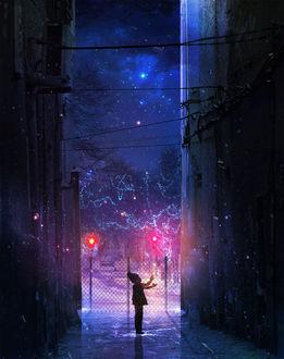 Фото Мальчик, подняв руки, стоит звездной ночью между домами, art by Martina Stipan