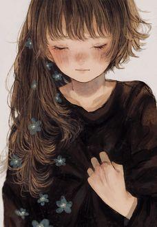 Фото Девочка с цветами на волосах
