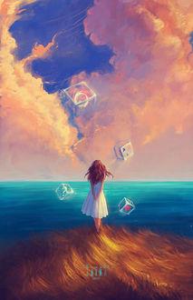 Фото Девушка стоит на фоне облачного неба и парящих в небе кубов, by z-a-i-n-a