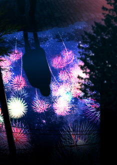 Фото Отражение в воде девушки и ночного неба с фейерверками