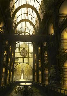 Фото Фонтан в холле огромной библиотеки, art by do_ra913