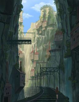 Фото Девушка идет по рельсам, а над ней нависают дома в скалах, art by do_ra913