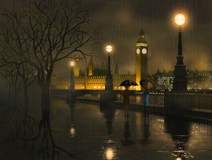 Фото Люди гуляют под зонтами по набережной ночного и дождливого Лондона, art by do_ra913