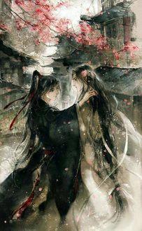 Фото Лань Ван Цзи и Вэй У Сянь стоят на улице под цветущим деревом из китайского аниме Mo Dao Zu Shi / Магистр дьявольского культа