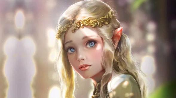 Фото Юная эльфийская принцесса с диадемой на размытом фоне, by Bluish Salt