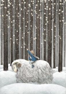 Фото Ребенок собирает звезды, сидя верхом на овце