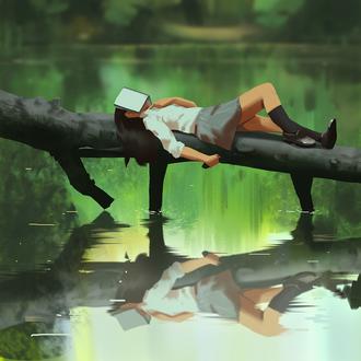 Фото Девушка с книгой на лице лежит на сломанном дереве над водой