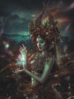 Фото Девушка - нимфа с магией, арт by Rebeca Saray