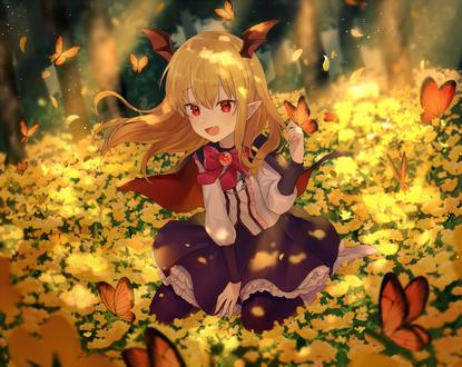 Фото Vampy из игры Granblue Fantasy с бабочкой на руке сидит на поляне желтых цветов в окружении порхающих бабочек