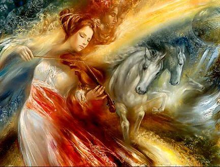 Фото Девушка со скрипкой в руках и бегущие лошади. Художник Станислав Сугинтас