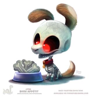 Фото Пес скелет смотрит на миску с косточками, by Cryptid-Creations