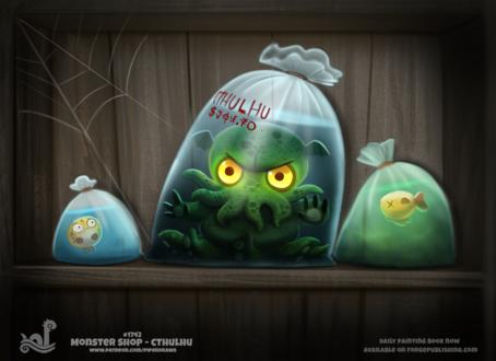 Фото Зеленый монстр в пакете среди других пакетов с рыбками, by Cryptid-Creations