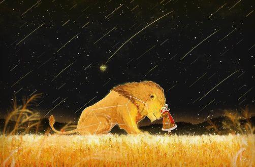 Фото Девочка стоит рядом со львом