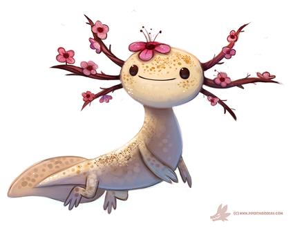 Фото Аксолотль с цветочками сакуры, by Cryptid-Creations