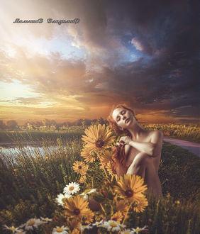 Фото Девушка заплетает косу сидя среди цветов, фотограф Малышев Владимир