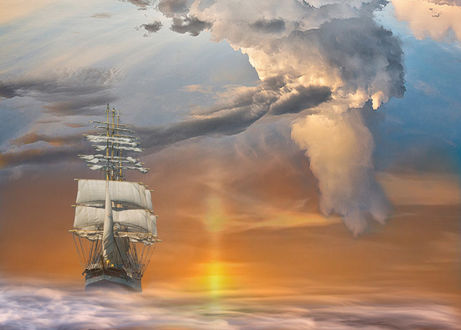 Фото Парусник на воде под облачным небом