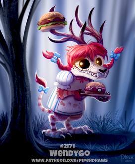 Фото Рыжеволосый скелет-монстр с рогами оленя, держит поднос с гамбургером (Wendygo), by Cryptid-Creations