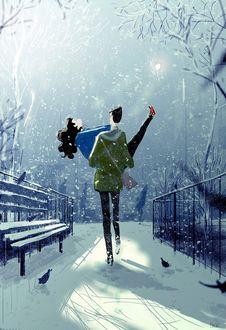 Фото Парень несет девушку на руках под снегопадом, by Pascal Campion