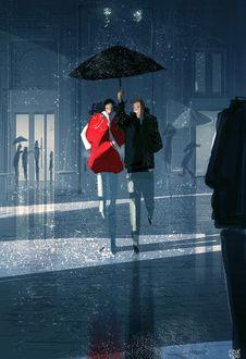 Фото Счастливая влюбленная пара бежит под зонтом, by Pascal Campion