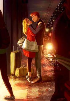 Фото Парень встречает девушку после долгой разлуки, by Yaoyao Ma Van As