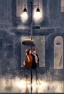 Фото Влюбленная пара с горячим кофе стоит под дождем, парень держит зонтик над девушкой, by Pascal Campion