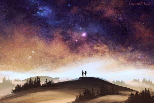 Фото Мальчик с девочкой стоят на пригорке на фоне ночного звездного неба, by YuumeiArt