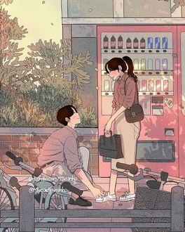 Фото Парень завязывает девушке шнурок на обуви, by 93. minho