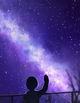Фото Девочка смотрит на ночное небо